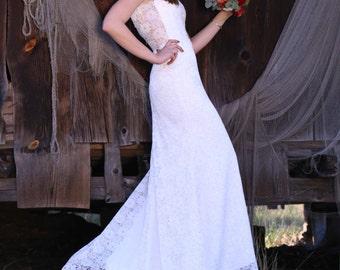 Boho A-Line Vintage Inspired Fully Lace Wedding Dress ,V-Cut Back, Bohemian Style,Ivory lace wedding dress,off shoulder ,beach wedding dress