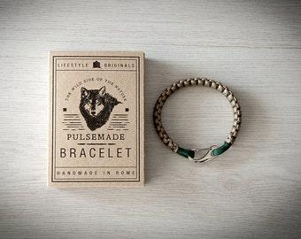 Crab Bracelet men-Women, jewelry for men Donna, urban bracelet Tan-Emerald Green, Valentine's Day gift, bracelet for her and him