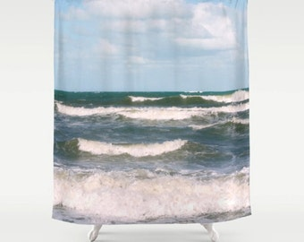 beach shower curtain ocean waves nautical shower curtain teal green aqua beach bath decor