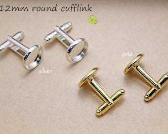 Cuff link-Silver Cufflinks-100pcs cufflink blanks-Round Shallow Pad Cufflink Base-12mm/14mm/16mm-Cufflink Blank With Round Bezel Setting