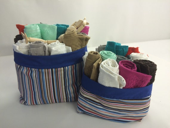 Anchors Away Striped Cloth Storage Basket - Reversible