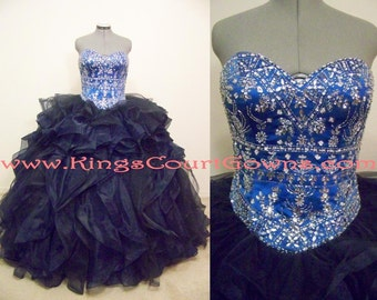 Replica Beaded Two Color Satin Organza & Tulle Ruffle Quinceanera Prom Sweet 16 Wedding Masquerade Military Ball Gown Corset Back Train