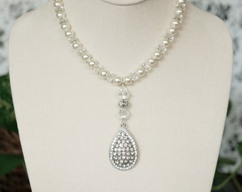 Bridal Necklace with Repurposed Pendant and Swarovski Pearls and Crystals