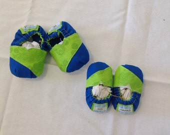 Baby Tom inspired shoes, baby shoes, Seahawks Shoes, Go Seahawks, Green and Blue Baby shoes, 6-9 Month Baby Shoes