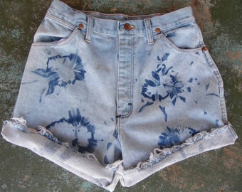 Vintage Distressed Bleached Denim Cut Offs-Wrangler Jean shorts-Tie Dyed-Distressed Denim--Daisy Dukes-Size Small