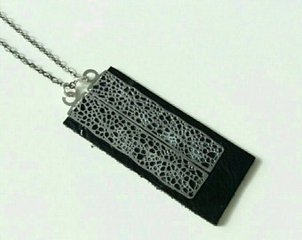 Necklace black leather and silver metal