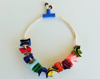 unique statement necklace, fun colorful jewelry, ooak necklace, Christmas gift for her, most popular item, colorful necklace, neoprene