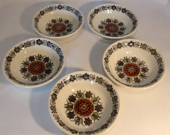 """Broadhurst Ironstone """"Romany"""" set of 5 soup / dessert bowls by Kathie Winkle - original from the 1970s"""