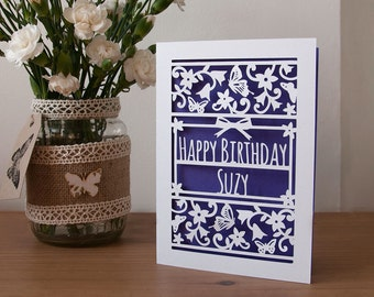 Personalised Happy Birthday Card Paper Cut 5x7 Inches Butterflies