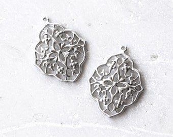 2146_Filigree pendant 27x34mm, Silver pendant, Filigree jewelry findings, Silver findings, Jewelry supplies, Silver filigree pendant_2 pcs.