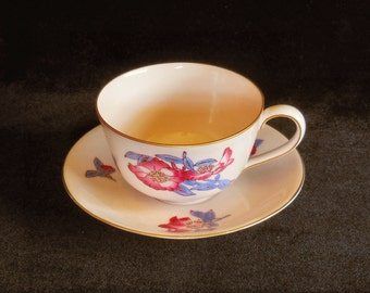 Pink Cup & Saucer Hand Painted Floral by Koran