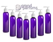 3 Purple PET Cosmo Bottles w/  White Lotion Pump Cap Dispenser 4 Oz, BPA Free Shampoo Body Cream, Soap Aromatherapy, Private Label Packaging