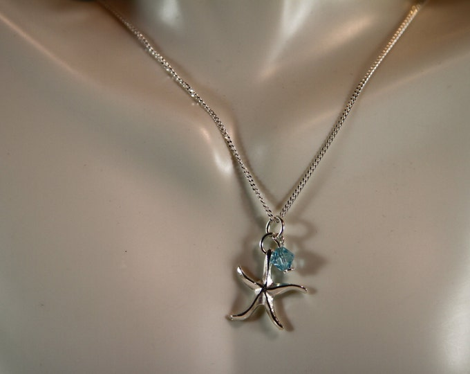 Sterling Silver Starfish & Crystal necklace