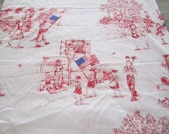 Vintage 1960s   American Flag Fabric  Patriotic Retro Children Red White and Blue  Patriotic Parade  Rare