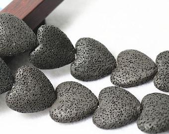 Black lava beads, heart shape 15 inches 1 strand 30mm