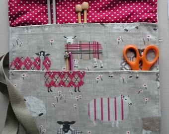 Knitting/ crochet needle roll, sheep fabric