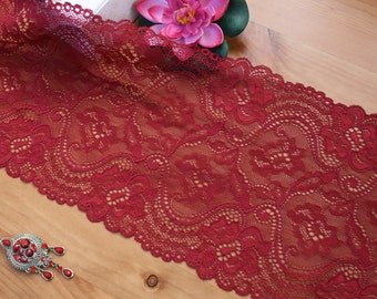 Dark Red Lace, Red Lace, Lingerie Lace, Red lace fabric, Wide Red Lace, Red Stretch Lace, Lingerie Fabric, Lace Trim, Dentelle rouge