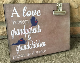 Personalized frame, Grandparents Frame, States, Cities, A love between grandparents and grandchildren, Housewarming Gift, Christmas Gift,