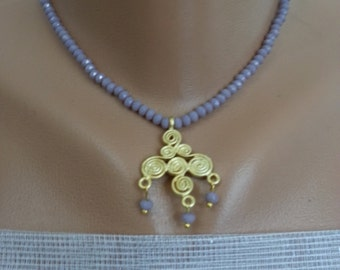 Elegant Lilac Stalactite...golden pendant & lilac beads