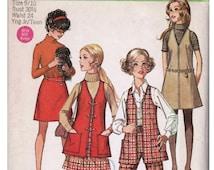 Girls Mod Vest Girls Jumper Pattern A-line Skirt SIMPLICITY 8360 sz 9/10 b 30.5 Girls Skirt Pattern Girls Pants 1960s Mod Outfit Mod Jumper