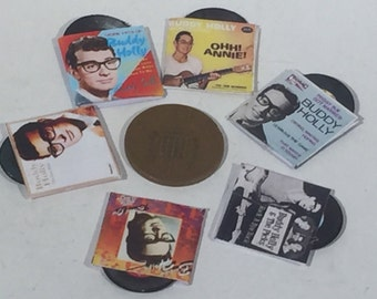Set of 6 Buddy Holly records for dolls houses 1:12th scale