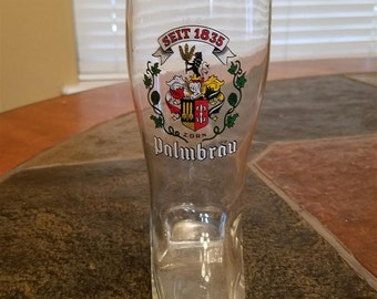 PALMBRAU Beer Boot Glass Gold Rim