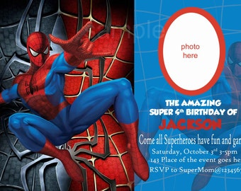 Spiderman Invitation. Spiderman Birthday Invitation. Digital (You print)