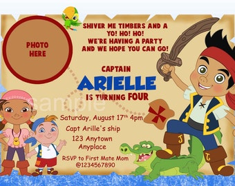 Jake and the Neverland Pirate Invitations. Jake and the Neverland Pirate Birthday. Jake Invites. Izzy Invites. Digital (you print)