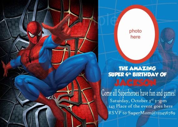 spiderman invitation  spiderman birthday invitation  digital