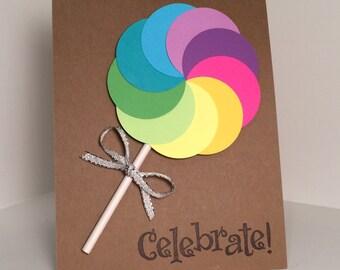 rainbow lollipop birthday card