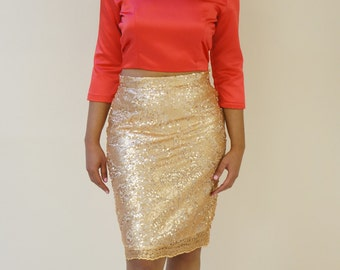 FREE SHIPPING* Gold Sequin Pencil Skirt