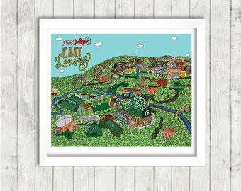 """EAST LANSING MAP Art Print   16x20"""""""