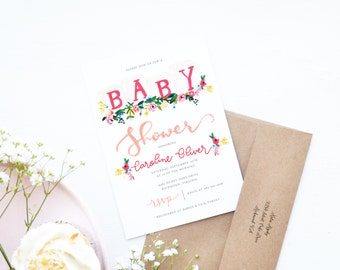 Pink Floral Baby Blocks Baby Shower Invitation