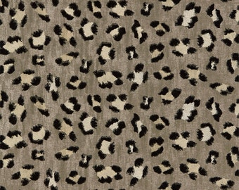 SCALAMANDRE Broderie Leopard Jacquard Embroidery Animal Fabric 10 Yards Ebony