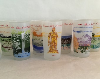 Oregon Centennial 1959 Frosted Glasses Set of 8