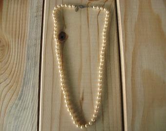 "21"" Vintage Napier Champagne Pearl Necklace"