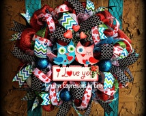 Ready to ship Valenties day wreath, owl wreath, valentine owl wreath, valentine decor, party decor, spring wreath, i love you, gift for her