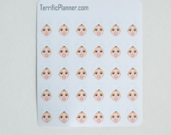30 Relaxing Face Mask Stickers  Perfect for planners like Erin Condren, Plum Paper, Happy, Filofax, Limelife and more #014