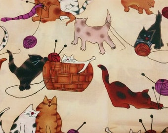 Knitting Cats on Beige Quilting Fabric