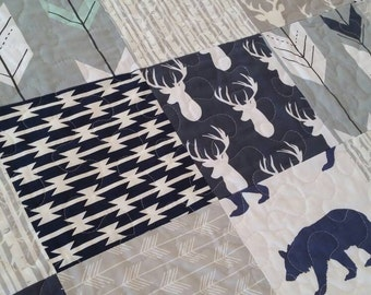 Navy and Grey Baby Quilt   Crib Quilt Baby Boy Patchwork Quilt Aztec Arrows Tribal Bears Deer Stag Buck Navy Handmade