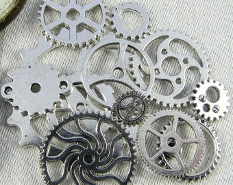 12-pack Sampler,  Gear Charms, Gears, Mixed Collection, Steampunk Gears, Silver Gears, Steampunk, Steampunk Charms, Gear Mixture, COL010