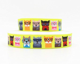7/8 inch Cute Executive Dogs / Cats - Puppy - Dog - Animal Printed Grosgrain Ribbon for Hair Bow