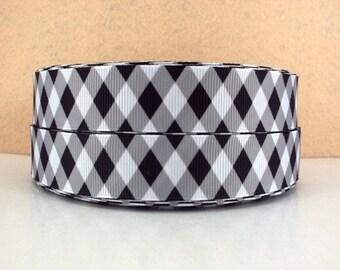 7/8 inch WHITE, BLACK and GRAY Diamond Pattern  - Argyle   -  Printed Grosgrain Ribbon for Hair Bow