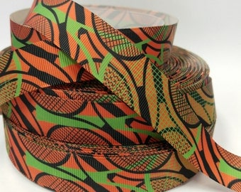7/8 inch Lime Green and Black Tennis Rackets on Orange - Sports - Printed Grosgrain Ribbon for Hair Bow