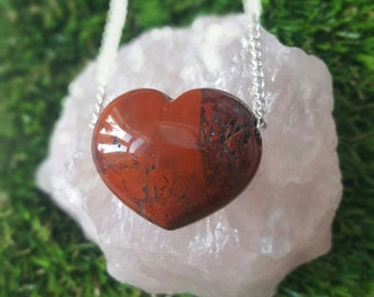 Brecciated Jasper crystal necklace Loveheart heart  crystal necklace