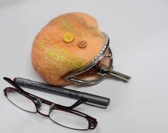 Wool felt coin purse felted purse kiss lock accessorie jewellery felt bag money purse gifts hand dyed Australian merino wool Orange 11611