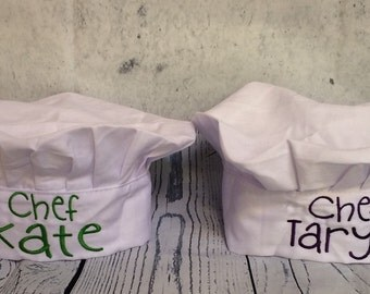 1 Personalized Kids Chef Hat with any name sz 5-10 years Party Favors (Embroidered) elastic closure