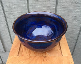 """Wheel thrown serving bowl 9"""" by 5"""
