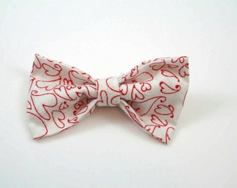 Red and White Heart Pattern. Red Heart Bow. Valentine Bow. Heart Hair Bow. Heart Baby Bow. Heart Toddler Bow. Valentines Day Bow.