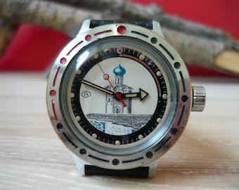 Vostok amphibia / Vostok KOMANDIRSKIE / Mechanical watch / USSR / Soviet Union / Komandirskie military watch pobeda / with no strap